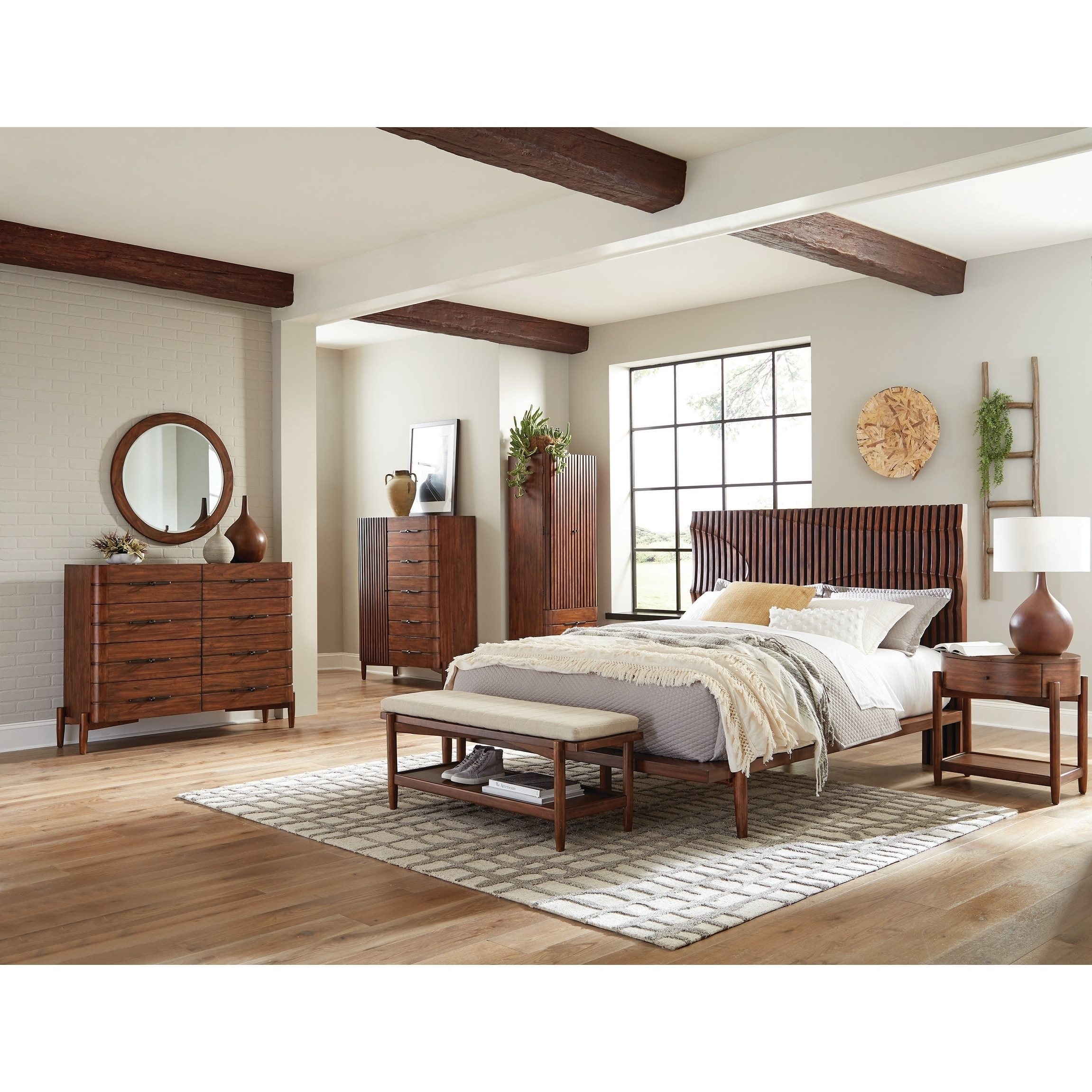 Shop Carson Carrington Hjalstad Teak 5 Piece Bedroom Set