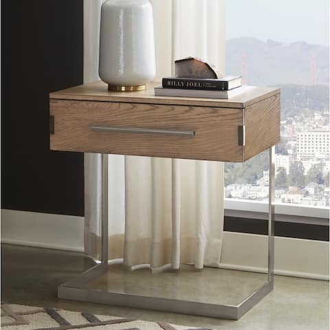 Strick & Bolton Ingram Grey Oak/ Metal Base Nightstand