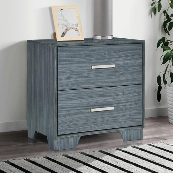 Porch & Den Augustine Dark Grey Oak 2-drawer Nightstand