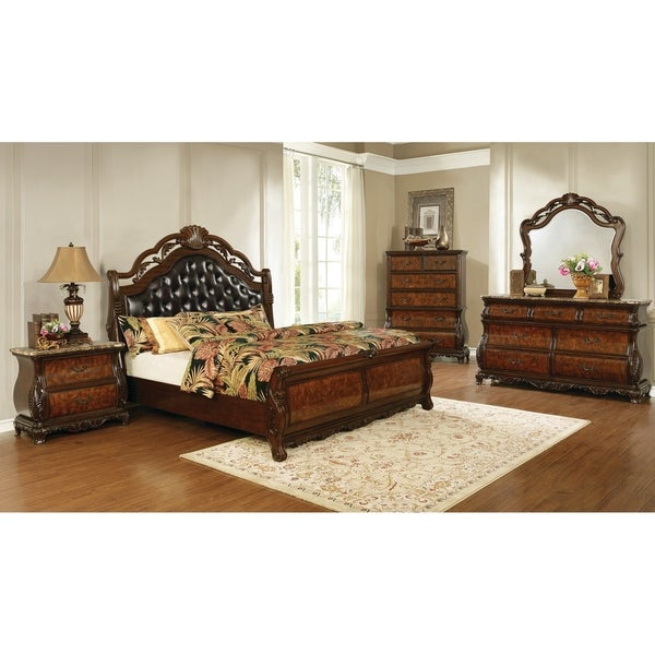 Gracewood Hollow Shridharani Dark Burl and Dark Brown 4-piece Bedroom Set