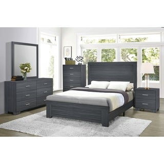 Porch & Den Augustine Dark Grey Oak 4-Piece Bedroom Set