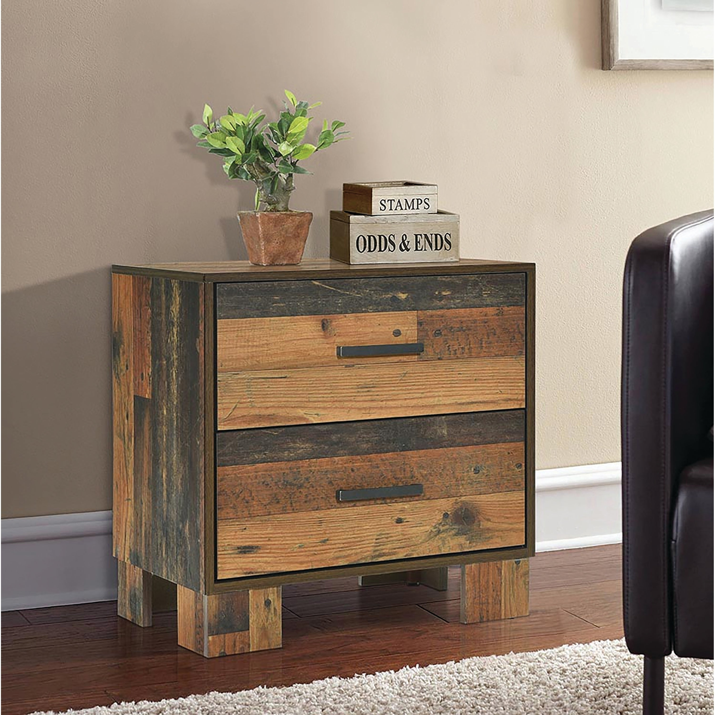 Carbon Loft Romang Rustic Pine 2 Drawer Nightstand