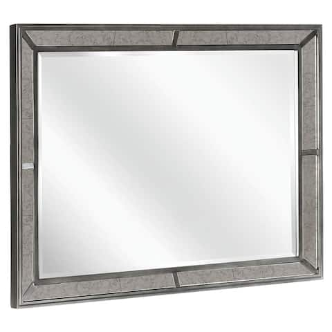 "Silver Orchid Dahlberg Caviar and Chrome Rectangular Mirror - 46"" x 1.75"" x 36"""