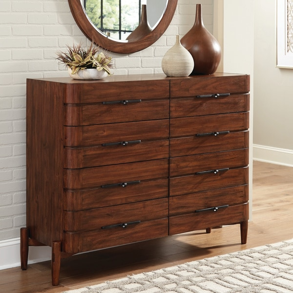 Carson Carrington Hjulsta Teak 8-drawer Mule Dresser