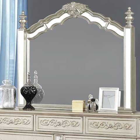 """Silver Orchid Cooper Metallic Platinum Arched Mirror - Metallic Platinum - 44.50"""" x 2"""" x 44"""""""