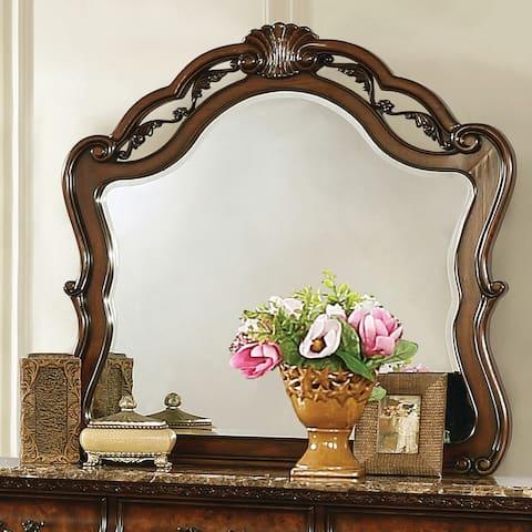 "Gracewood Hollow Shridharani Dark Burl Arched Dresser Mirror - Dark Burl - 41.75"" x 1.50"" x 43"""