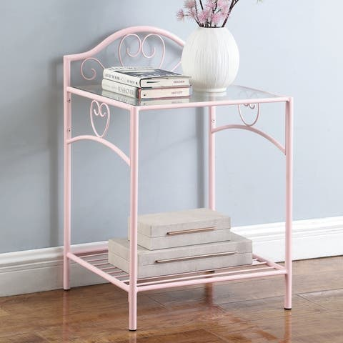 Taylor & Olive Primrose Pink/ Clear Glass Nightstand