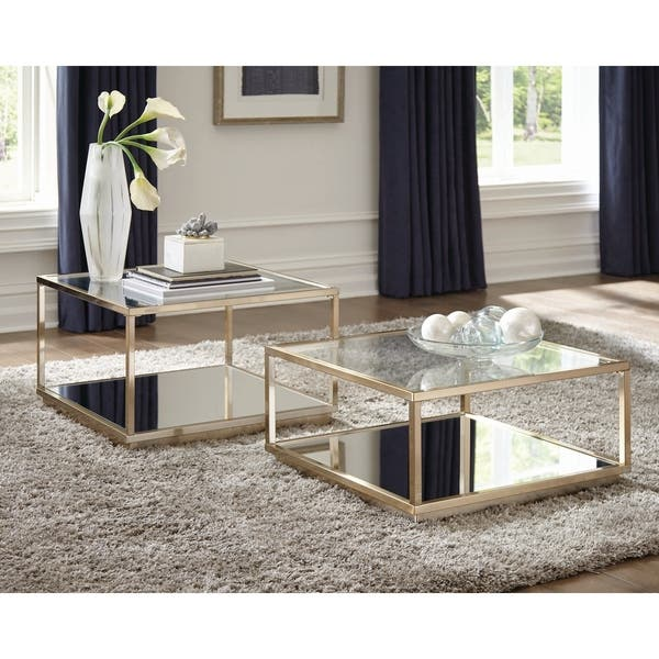 Silver Orchid Davidson Brass And Clear 2 Piece Square Occasional Set Overstock 29141632