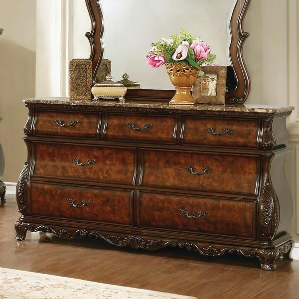 Gracewood Hollow Shridharani Dark Burl 7-drawer Dresser with Marble Top