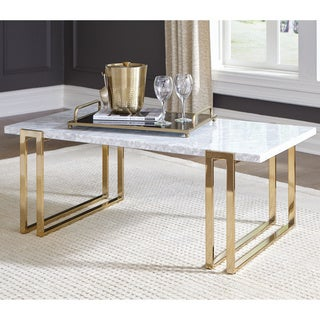"Silver Orchid Benedict White and Rose Brass Rectangular Coffee Table - 48"" x 26"" x 18"""