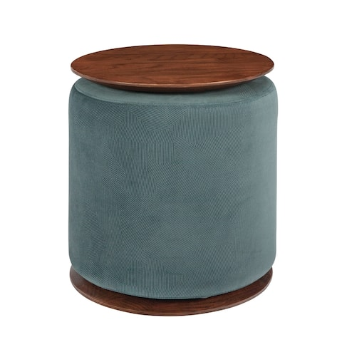 """Carson Carrington Vackelsang Blue and Graphite Accent Table with ottoman - 18"""" x 15.75"""""""