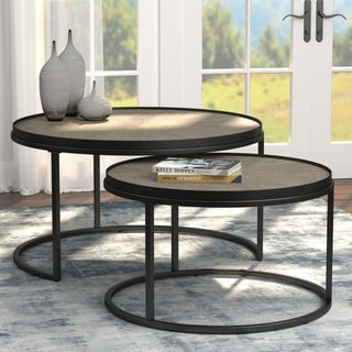 Carbon Loft Dheera Weathered Elm 2-piece Round Nesting Tables
