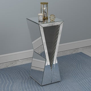"""Silver Orchid Abbott Silver Geometric Accent Table - 12"""" x 12"""" x 28"""""""