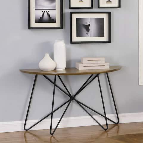 Carson Carrington Hjulslatt Dark Brown and Black Semicircle Sofa Table