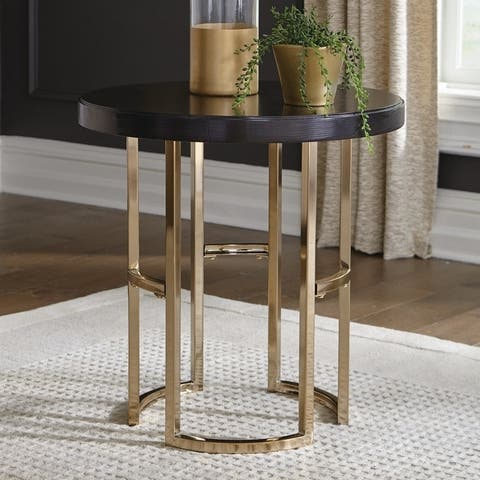 """Silver Orchid Bevan Dark Brown and Rose Brass Round End Table - 24"""" x 23"""""""