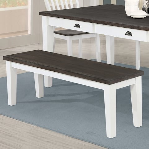 "The Gray Barn Blue Dasher Espresso and Antique White Rectangular Bench - 54"" x 15"" x 18.25"""