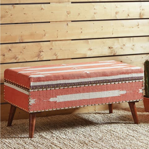 "Carson Carrington Vackamo Orange and White Upholstered Storage Bench - 36"" x 16"" x 16"""