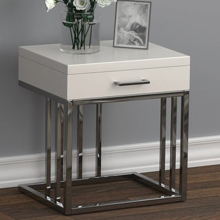 Strick & Bolton Clarey White/ Chrome End Table