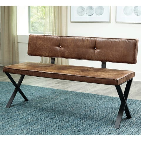 Carbon Loft Talyan Vintage Brown and Dark Gunmetal Dining Bench