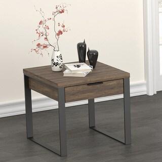 Carbon Loft Bondarenko Aged Walnut and Gunmetal 1-drawer End Table