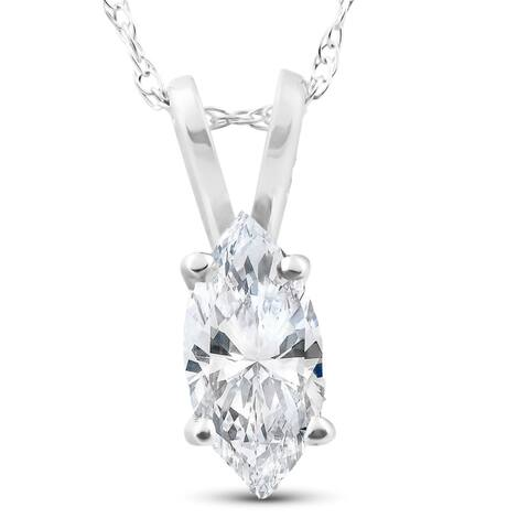 1/2ct Fancy Marquise Diamond Solitaire Pendant 14K White Gold