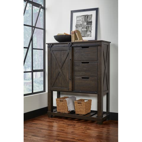 Simply Solid Sharla Solid Wood 3-drawer Barndoor Chest