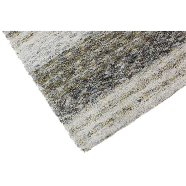 Addison Sanibel Striped Grey Shag Area Rug