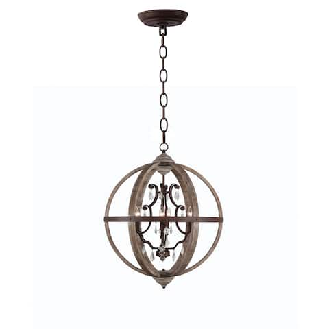 Halen Elton Rustic Wood Crystal ORB chandelier Pendant Shabby Chic Foyer Lighting, Home Decor Dining Room, Bedroom, Living Room