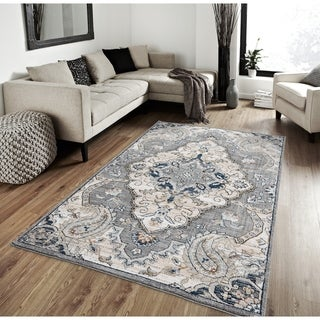 Porch & Den Rowell Distressed Diamond Medallion Plush Area Rug