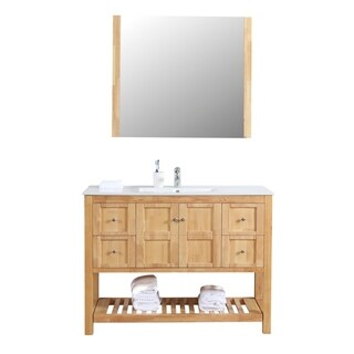 "Manhattan 48"" Freestanding Vanity with Ceramic Top in Natural Wood"