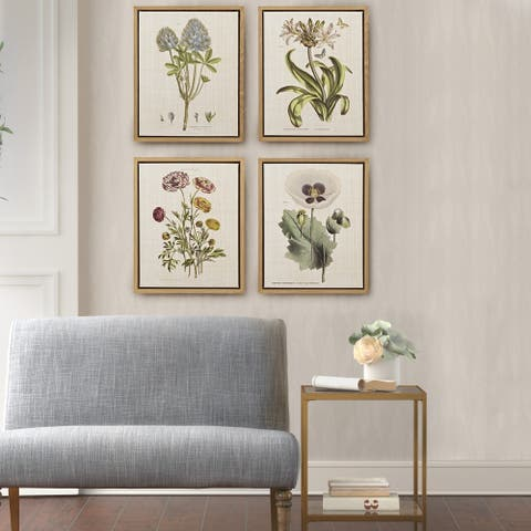 Martha Stewart Herbal Botany Green Framed Linen Canvas 4 Piece Set