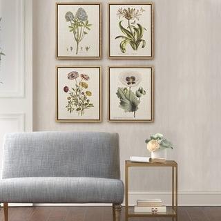 Martha Stewart Herbal Botany Green Framed Linen Canvas 4 Piece Set