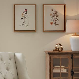 Martha Stewart French Herbarium Multi Framed Linen Canvas 2 Piece Set
