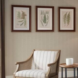 Martha Stewart Lady Fern Collection Green Single Mat Framed Graphic 3 Piece Set