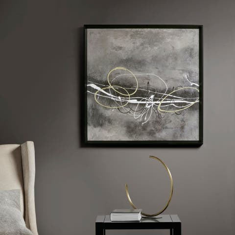 Martha Stewart Neutral In Motion Grey Framed Canvas