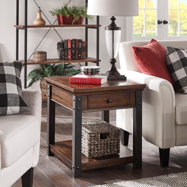 Richter Dark Cherry Finish End Table by iNSPIRE Q Classic
