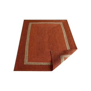 Farmhouse Bordered Hand Woven Jute Eco-friendly Carpet Solid Color Indian Oriental Area Rug