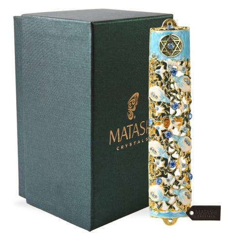 """Matashi 6"""" Hand Painted Enamel Mezuzah Embellished with a Ivy and Flowers Design with Gold Accents with Blue Crystals"""