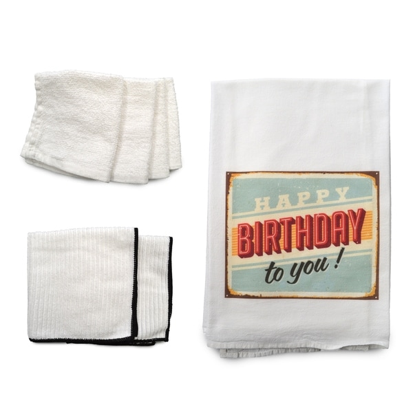 """Happy Birthday"" 7-piece Dish Towel Set"