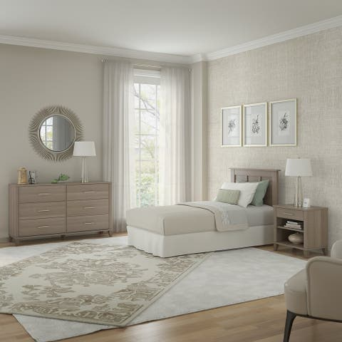 Somerset Twin Size Headboard with Dresser and Nightstand