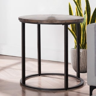 Link to Carbon Loft Langford Round Metal and Reclaimed Wood End Table Similar Items in Living Room Furniture