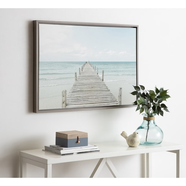 Kate and Laurel Sylvie Wooden Pier Framed Canvas by Amy Peterson. Opens flyout.