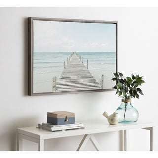 Kate and Laurel Sylvie Wooden Pier Framed Canvas by Amy Peterson