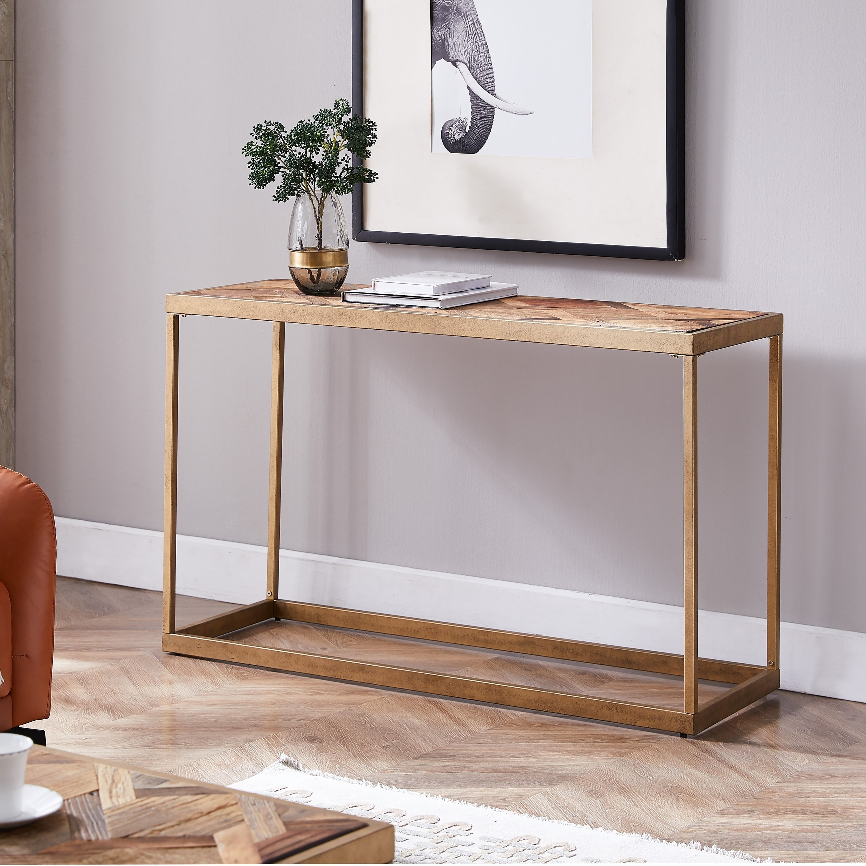 Porch Den Darren Reclaimed Wood And Brass Modern Farmhouse Console Table Overstock 29146768