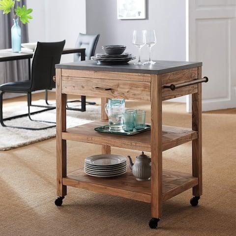 SEI Furniture Covington Industrial Reclaimed Wood Kitchen Cart