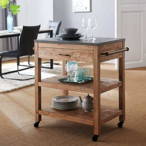 Harper Blvd Covington Industrial Reclaimed Wood Kitchen Island