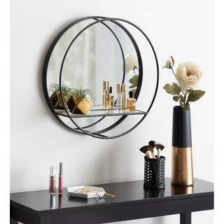 "Kate and Laurel Kei Modern Round Accent Mirror With Shelf - 19"" Diameter"