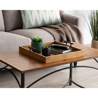 Kate and Laurel Lipton Square Decorative Wood Tray with Metal Handles - 16x16
