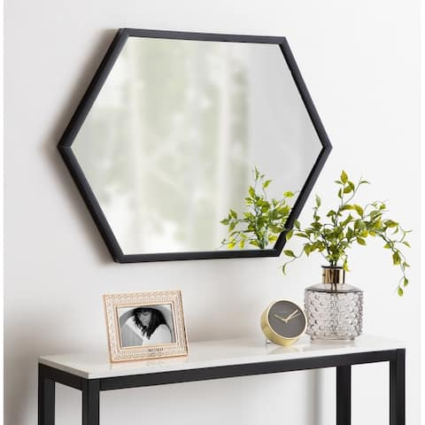 Kate and Laurel Laverty Framed Hexagon Wall Mirror - Black - 22x31