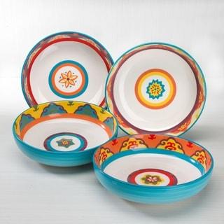 Euro Ceramica Galicia 40 oz Spanish/Portuguese Inspired Pasta Bowl (Set of 4)